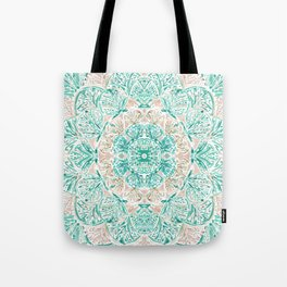 SO SHELLULAR Mint + Rose Gold Shell Mandala Tote Bag