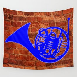Blue French Horn Wall Tapestry