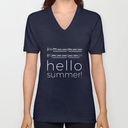 Hello summer! (black) Unisex V-Neck