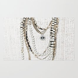 vintage white gold necklace Rug