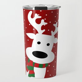 Reindeer in a snowy day (red) Travel Mug