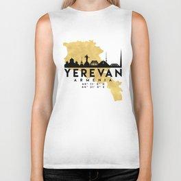 YEREVAN ARMENIA SILHOUETTE SKYLINE MAP ART Biker Tank