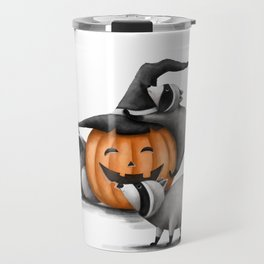 Raccoons and Jack-O-Lanterns Travel Mug