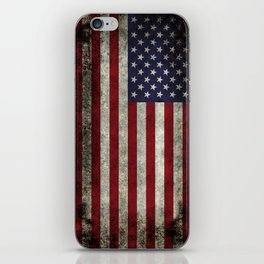 American Flag, Old Glory in dark worn grunge iPhone Skin