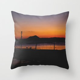 Sunset at Taal Volcano Throw Pillow