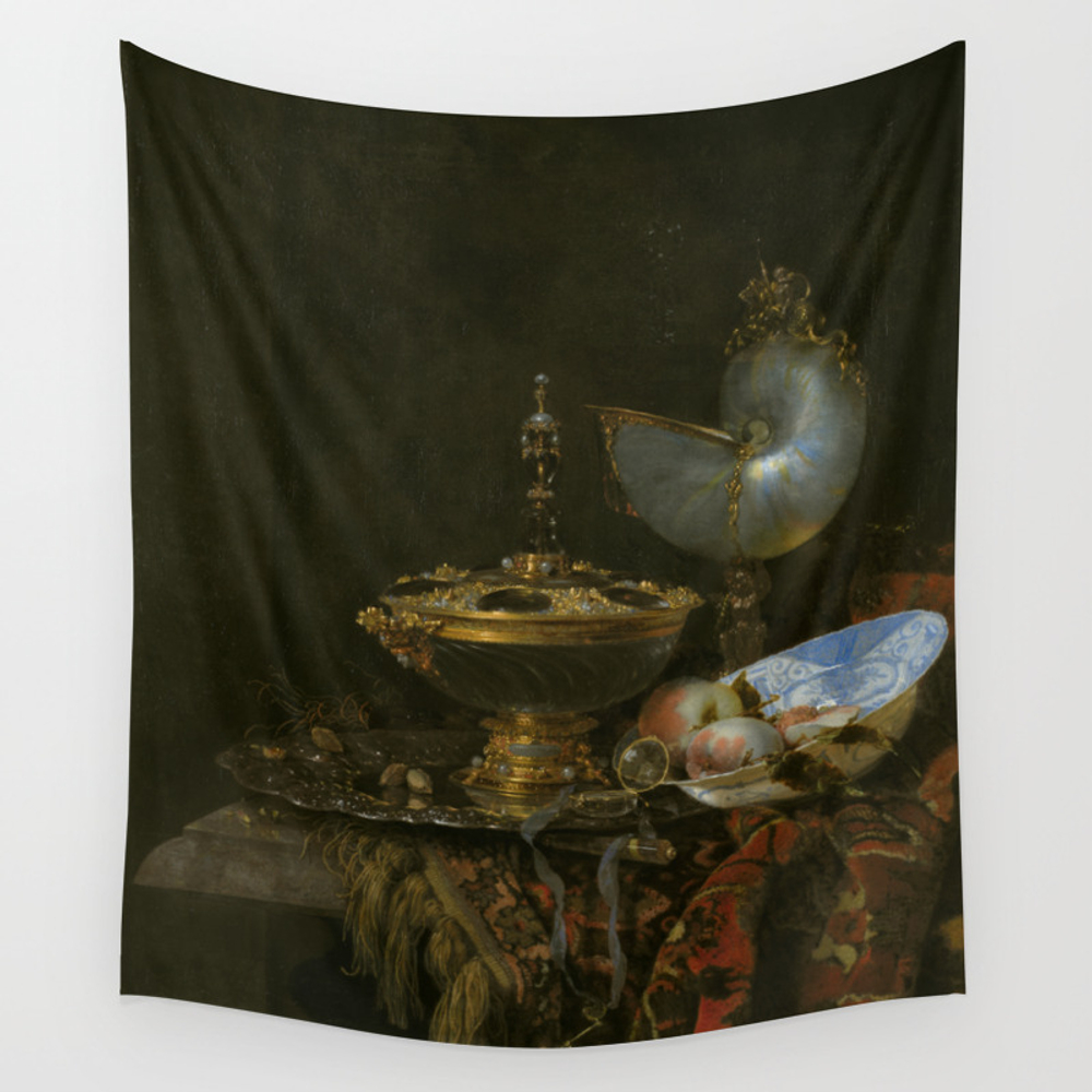 Still Life With Holbein Bowl, Nautilus Cup, Glass … Wall Tapestry by Ortolanastudio TPS7628632