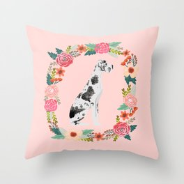 great dane dog floral wreath dog gifts pet portraits Throw Pillow