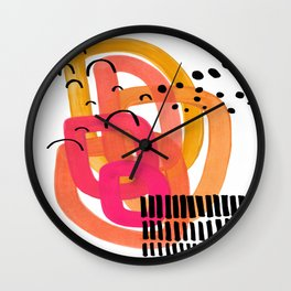 Modern Mid Century Fun Colorful Abstract Minimalist Painting Ombre Yellow Magenta Infinity Circles Wall Clock