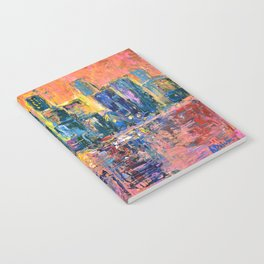 Pink Sky - abstract painting New York city skyline at sunset impressionism acrylic Notebook