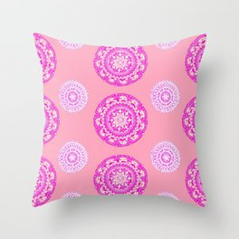 Salmon, Pink, and Purple Patterned Mandalas Throw Pillow