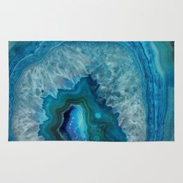 Blue agate marble faux druse crystal quartz gem gemstone geode mineral stone photograph hipster Rug