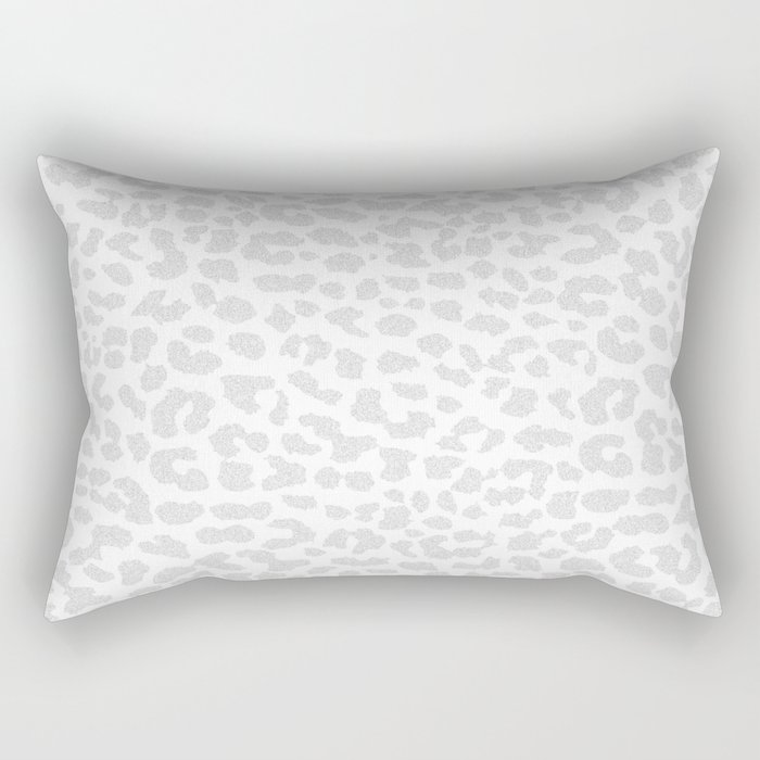 Pale Gray Leopard Rectangular Pillow
