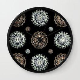 Rose Gold and Silver Mandala Textile on Black Wall Clock