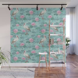 Stork and water lily on blue background Wall Mural