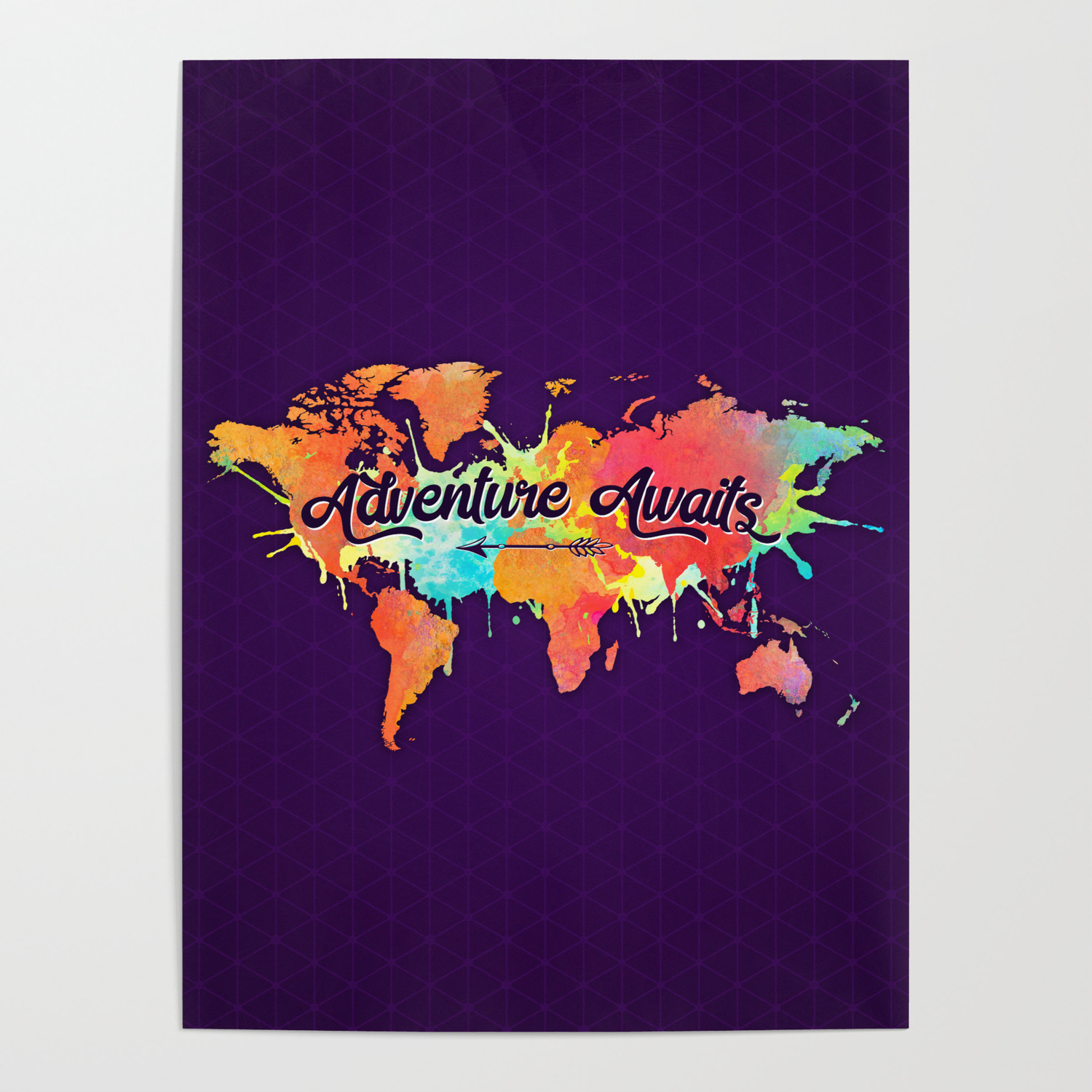 Adventure Awaits Quote Vivid Watercolor World Map Poster By Map