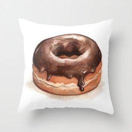 Chocolate Glazed Donut Throw Pillow