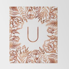 Letter U - Faux Rose Gold Glitter Flowers Throw Blanket