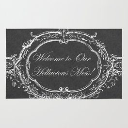 Welcome to Our Hellacious Mess Vintage Floral Chalkboard Rug