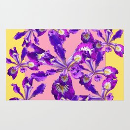 Abstract Purple Dutch Iris Floral Garden Yellow-Pink Rug