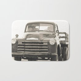 The Old Farm Truck Black and White Bath Mat