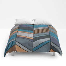 Colorful Concrete Chevron Pattern - Blue, Grey, Brown Comforters