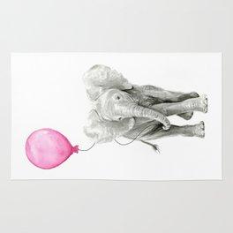 Elephant Watercolor Pink Balloon Baby Animal Nursery Girl Art Rug
