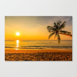 Beautiful Sunset over the Beach Canvas Print
