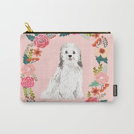 havanese floral wreath spring dog breed pet portrait gifts Carry-All Pouch