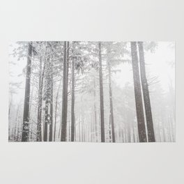 Mysterious road in a frozen foggy forest Rug