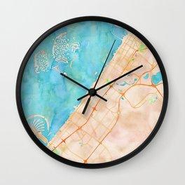 Dubai UAE city watercolor map print Wall Clock