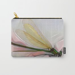Dragonfly creeps on a white Carry-All Pouch