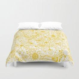 Yellow Floral Doodles Duvet Cover