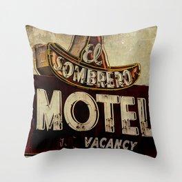 Vintage El Sombrero Motel Sign Throw Pillow