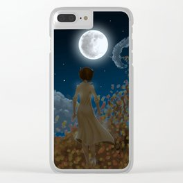 The moon and Leaves Clear iPhone Case