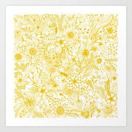 Yellow Floral Doodles Art Print