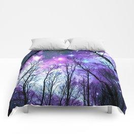 Black Trees Lavender Pink Blue Space Comforters