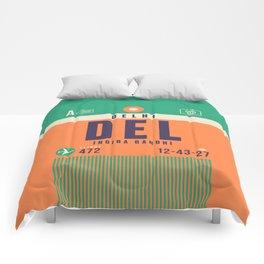 Retro Airline Luggage Tag - DEL Delhi India Comforters