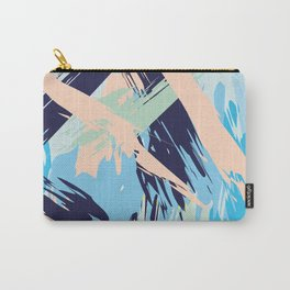 Blue Maritime Nautical Brushstroke Pattern Carry-All Pouch