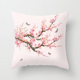 Pink Cherry Blossom Dream Throw Pillow