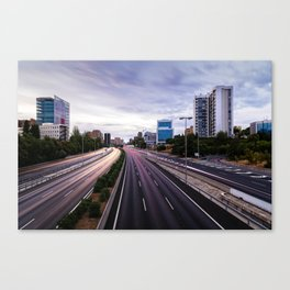 Motorway in Madrid at sunset Canvas Print