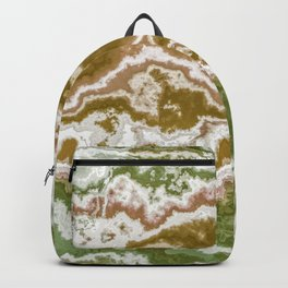 Green and toasted sienna marbling texture Backpack