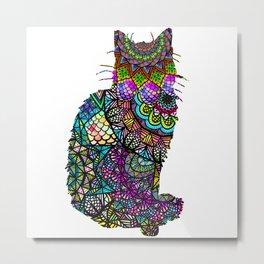 Abstract Pretty Kitty Cat Mandala Design Metal Print