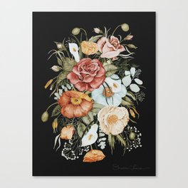 Roses and Poppies Bouquet on Charcoal Black Canvas Print