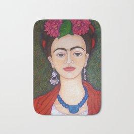 Frida Kahlo portrait with dalias Bath Mat
