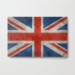 UK flag, High Quality bright retro style Metal Print