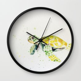 turtle watercolor art Wall Clock