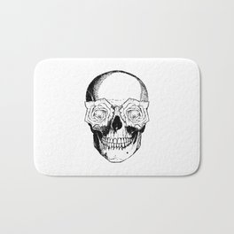 Skull and Roses | Black and White Bath Mat