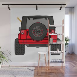 Jeep Wave Back View - Red Jeep Wall Mural