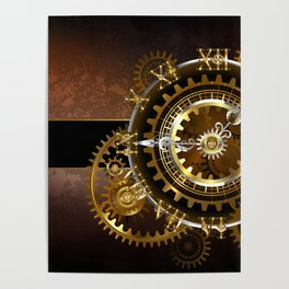 Steampunk Clock with Gears Poster