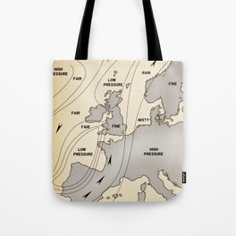 British Isles vintage weather map poster Tote Bag